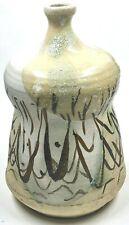 Art Pottery Vase Stoneware Cream & Green Lava Glaze Brown Line Designs Signed