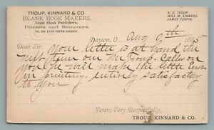 1885 DAYTON OH TROUP KINNARD & CO BLANK BOOK MAKERS ANTIQUE POSTCARD