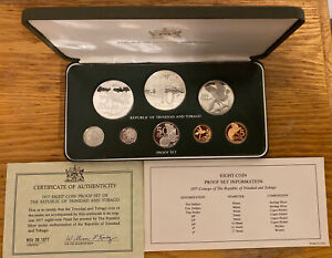 1977 Coinage Of The Republic Of Trinidad And Tobago Eight Coin Proof Set