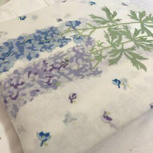 Vintage Wamsutta Supercale Hollyhock Floral Blue Purple Twin Size Flat Sheet