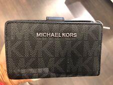 Michael Kors Jet Set Travel Signature PVC Bifold Zip Coin Wallet in Black