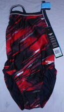 Speedo Youth Red Fractal Point Flyback 8191346 Girls 8/24 New in Box