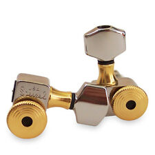 Sperzel Accent Trim Lock Tuners, 6 in Line Nickel with Gold Accents