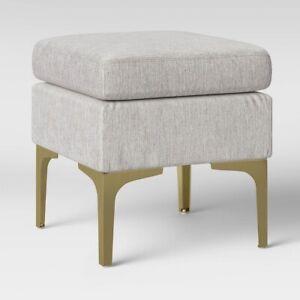 NEW Joslyn Brass Leg Ottoman - Project 62 Textured Beige