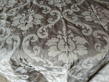 New listing Flocked Cream Silver Damask Soft Plush Chenille Remnant Home Decor Fabric