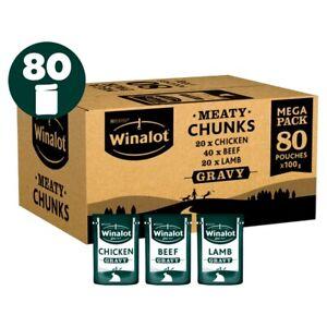 Winalot Meaty Chunks Mixed Wet Dog Food Pouches in Gravy - 80 x 100g