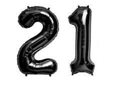 """16"""" 21 Black Number Balloons 21st Birthday Party Anniversary Foil Balloon Decor"""