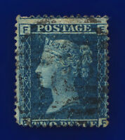 1858 SG45 2d Blue Plate 9 LC Type II G2 EF Misperf Liverpool 466 GU Cat £15 bblw