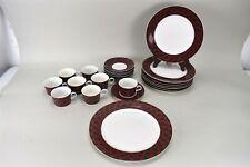 Arita Tartan Plaid Red Green China Plate Cups Saucer Chop Platter Set of 24