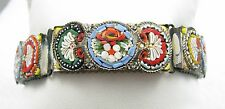 "Vintage Italian Italy Micro Mosaic Glass Tile Floral Link 7 1/2"" Bracelet"