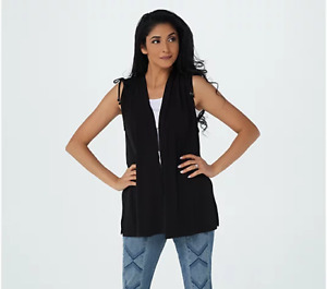 Every Day by Susan Graver Liquid Knit Vest with Ruching-Black-Medium-NEW-A376579