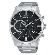 Pulsar Chrono Black Dial Stainless Steel Bracelet Gents Watch PT3735 UK Seller