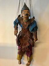 Unikat Marionette Thailand Handarbeit geschnitzter Kopf beweglicher Mund Asia