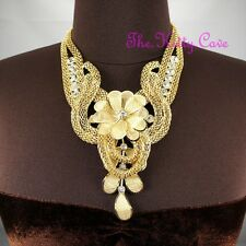 Chunky Gold Deco Metal Lace Floral Flower Mesh Crystal Collar Statement Necklace