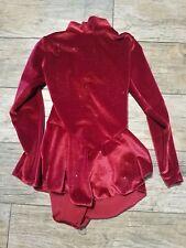 Girls Motionwear Red Velvet Glitter Ice Skating Dress Sz 6X/7