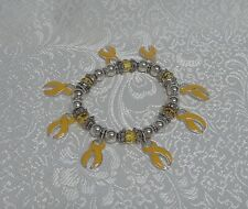 YELLOW RIBBON AWARENESS/SUPPORT CHARM BRACELET -  FACETED BEADS - STRETCHY