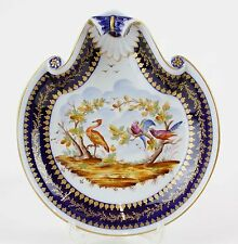 Vincennes ? Blue White Gold Multi Shell Shaped Hand Painted Bird Scene Bowl H19