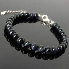 Men's Women Bracelet 6mm Blue Tiger Eye 925 Sterling Silver Clasp Link 1238