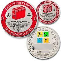 "GEO-ACHIEVEMENT 100 ONE HUNDRED FINDS  GEOCACHING GEOCOIN 1.75""  CHALLENGE COIN"