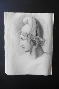 FRENCH NEOCLASSICAL SCHOOL 19thC - PORTRAIT YOUNG GREEK - CHARCOAL DRAWING