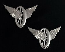 Motorcycle Wheel with Wings Insignia Metal Silver Finish (Pair)