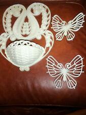 3 Piece Burwood Wall Pocket Planter & 2 White Butterflies Wicker Look