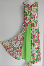 Vtg Dah Young Italy Style Dress Rayon Swing Dress Size L Vibrant Colors