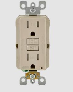 New!! LEVITON Smart-Lock Pro Light Almond Grounded OUTLET 15A-125V R02-AFTR1-0KT