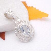 Blautopas blau hellblau oval Design Amulett Anhänger 925 Sterling Silber neu