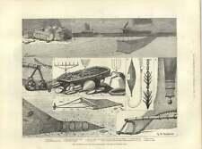 1883 Articles Fishing Gear Lobster Pots Fluking Creeper Stow Net Dredge Harpoon