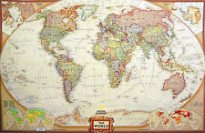 Executive Style Laminated World Map Tripel Projection Reference 46X30 Wall Map