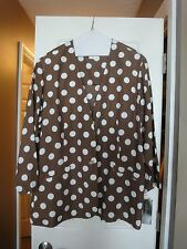 NEW w/ TAGS!  Carol Anderson Collection Jacket 3X Chocolate Brown w/White Dots