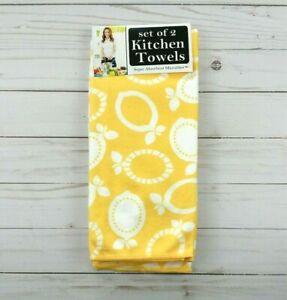 Ritz Kitchen Towels Lemons Microfiber Set of 2 Yellow White Geometric