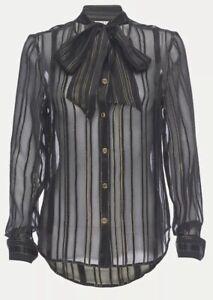 FRAME Black Silk Tie Neck Blouse RRP $450  Size Medium