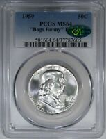 1959 50C PCGS / CAC MS64 RARE TYPE 2 REVERSE BUGS BUNNY FS-401 FRANKLIN!