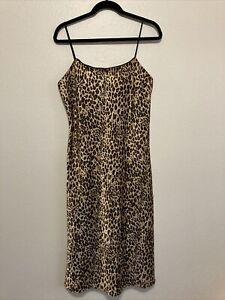 Women's L Vintage Cheetah Print Midi Slip Dress