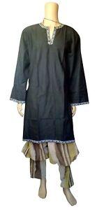 Larp Medieval Tunic Shirt Viking Reenactment Fancy Dress Chest Fit Black Brown