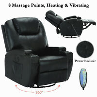 Electric Swivel Heated Massage Chair Leather Power Recliner Sofa Armchairs
