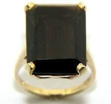 Vintage Small Ladies Womens 9ct 9carat Yellow Gold Smokey Quartz Ring UK Size K