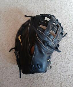 "Nike Pro Gold Tradition Full Size 12.75"" Black Baseball Glove RH Throw Leather"