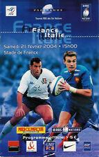 France/Italie Français Grand Slam saison 21 fév 2004 rugby programme