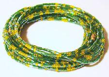 "Yoruba Waist Beads Brass Clasps Green & Yellow Cut Glass 3 Yards 26"" Orula"