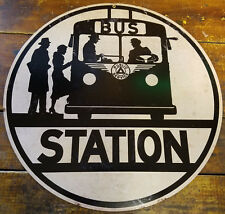"""BUS STATION PUBLIC SERVICE BLACK WHITE SILHOUETTES 14"""" ROUND HEAVY METAL SIGN"""