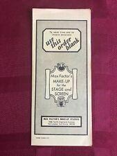 Max Factor Theatre Makeup Brochures price order sheet 1972 RARE A