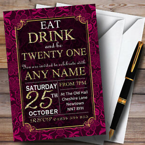 Pink & Gold Flowers 21st Personalised Birthday Party Invitations