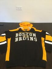 Boston Bruins Black Yellow Full Zip Hoodie Sweatshirt Large Excellent Condition