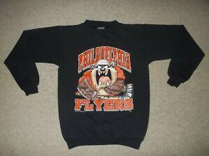 VTG Rare 1997 Philadelphia Flyers Taz Warner Bros Black Youth L 14-16 Sweatshirt