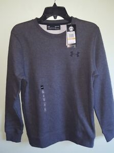 NEW Under Armour Men's SMALL Rival Crew Neck Fitted Sweatshirt DARK GRAY #427718