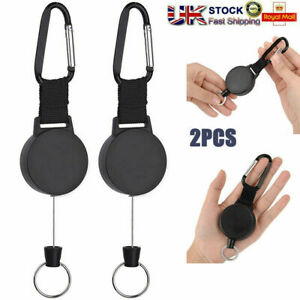 2x Retractable Stainless Steel Keyring Pull Ring Key Chain Recoil Heavy Duty UK