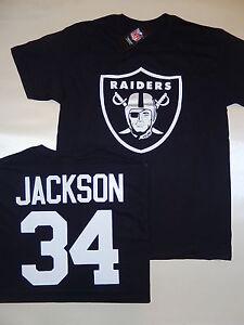 "9715 Mens Oakland Raiders BO JACKSON ""Logo"" Football Jersey Shirt BLACK New"